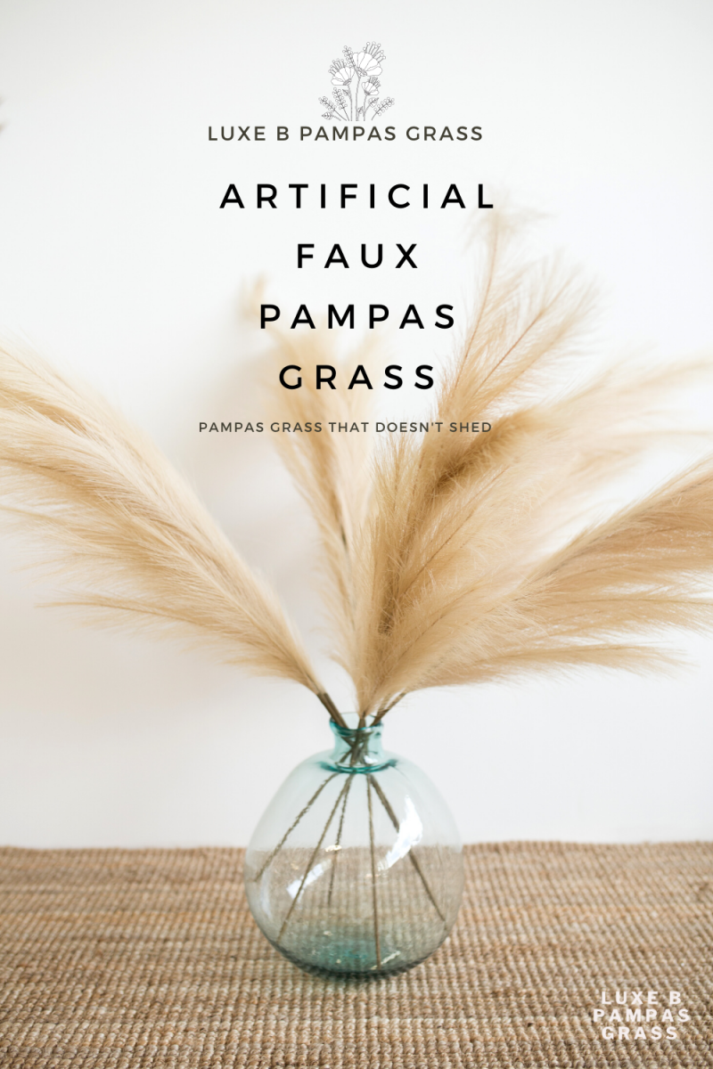 Luxe B Pampas Grass Artificial Faux Taupe Sand Pampas Grass