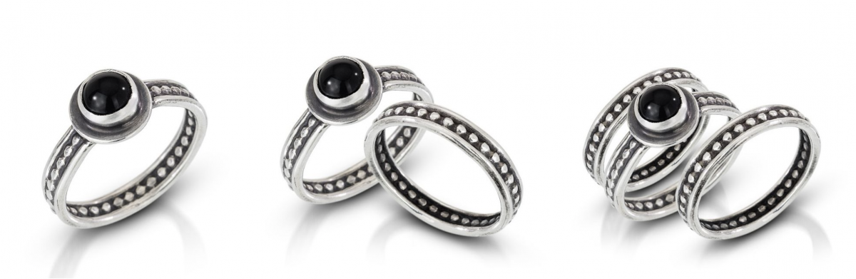 silver textured layering rings with onyx stones