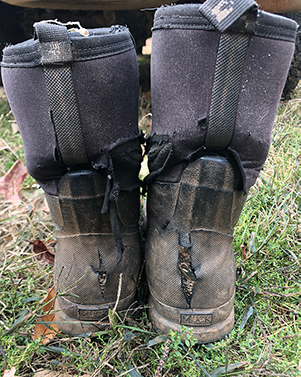 A pair of worn out boots. Used but not defeated.