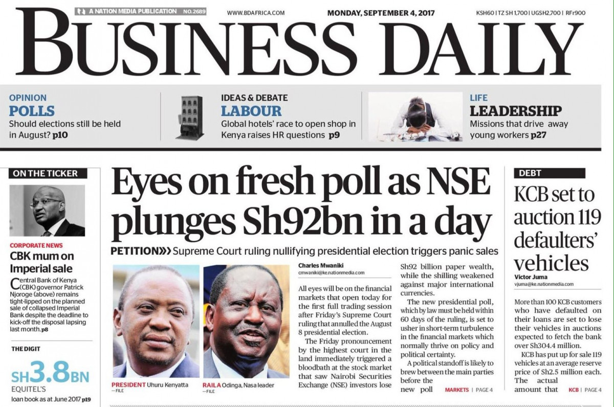 business daily nse down