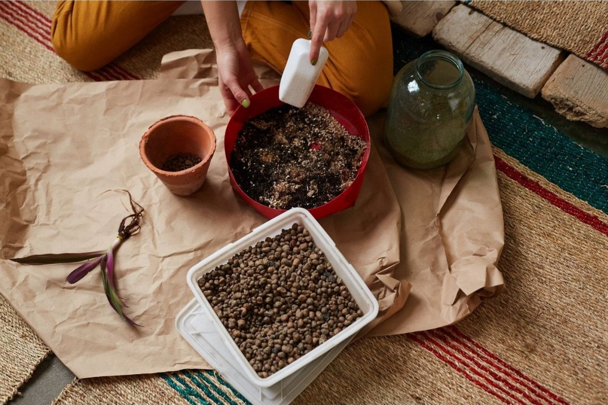 a photo of a person mixing fertilizer into fresh house plant soil