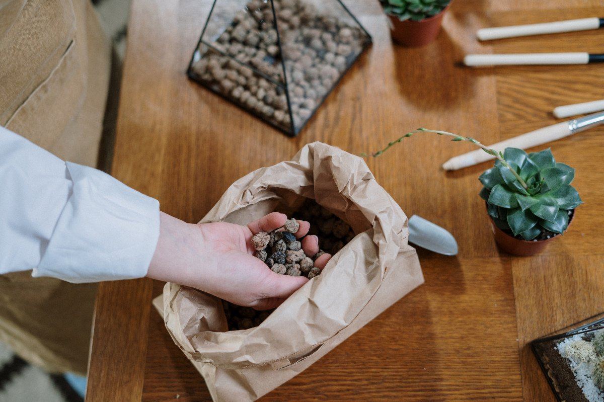 a photo of a person adding porous rocks to the bottom of a succulent terrarium container