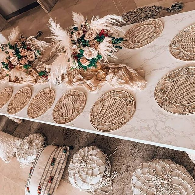boho chic tablescape with woven placemats