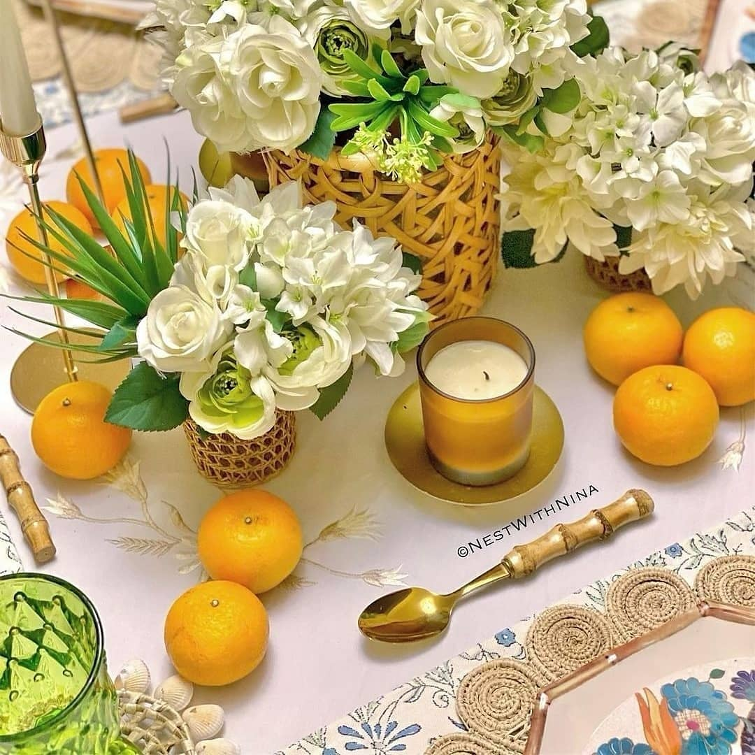 Place settings featuring our Flower Woven Iraca Placemats and the Orchid Woven Iraca Napkin Ring