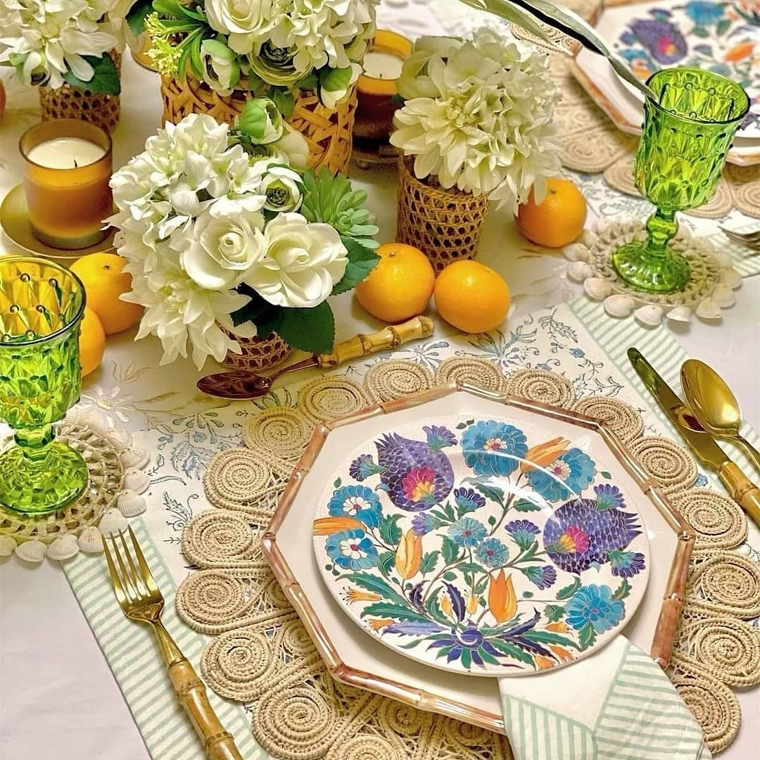 Table Settings with our Flower Woven Iraca Placemat and Orchid Woven Napkin Ring