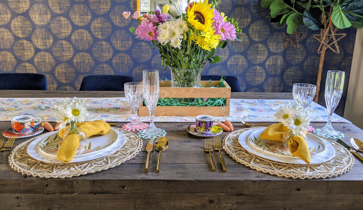 Spring and Easter tablescape with woven placemats