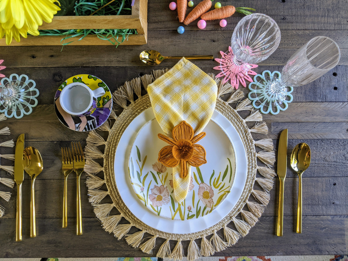 Spring and Easter Table Setting with woven placemats