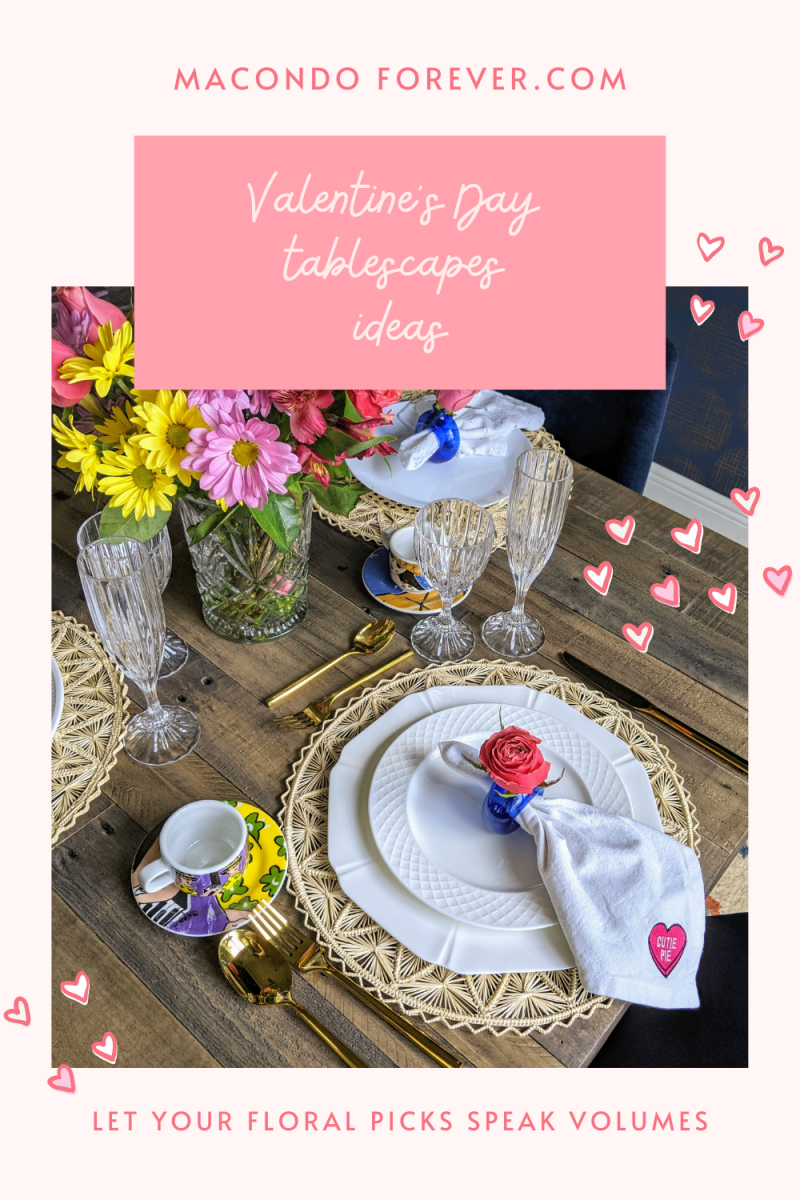 Romantic Valentine's Day Table Settings with Woven Placemats