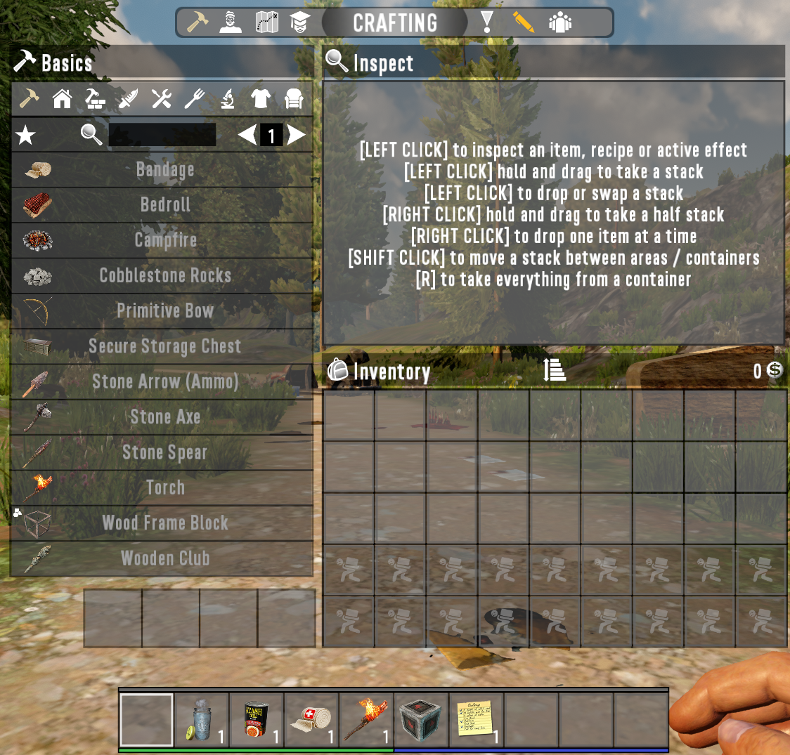 7 Days to Die Inventory Page: your basic inventory with your item UI on the left where you can look up everything you need