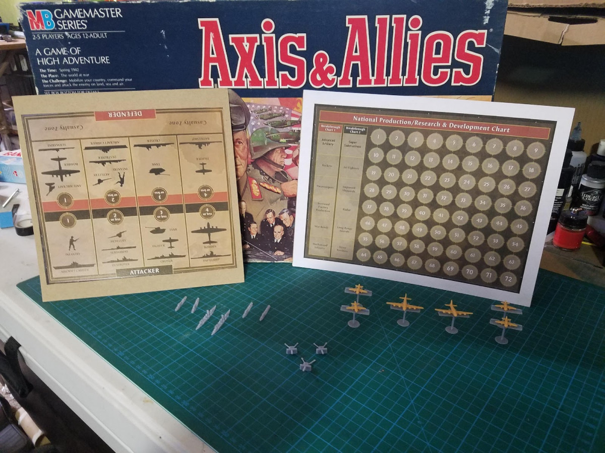 Axis and Allies game and pieces displayed
