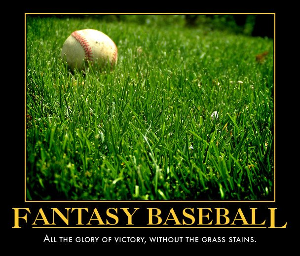 """""""Fantasy Baseball: All the glory of victory, without the grass stains."""" Image, baseball in grass"""