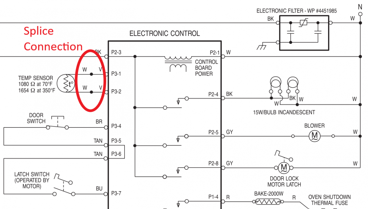 Tech sheet of the electronic control board and splice connection