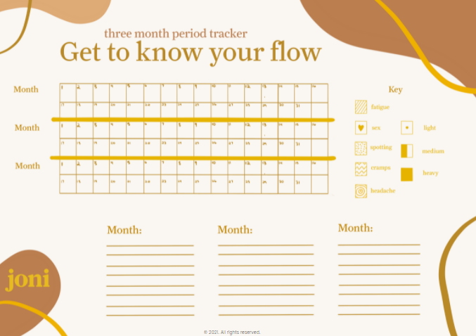 Click to download joni's free three-month period tracker