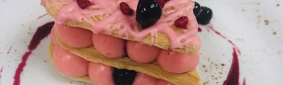 Blackcurrant and vanilla mille feuille