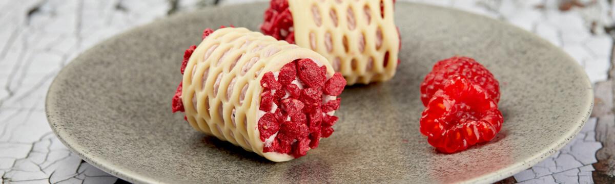 Delicate raspberry petit fours