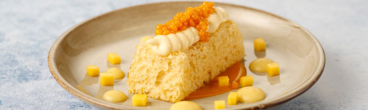 Mango sponge with clotted custard