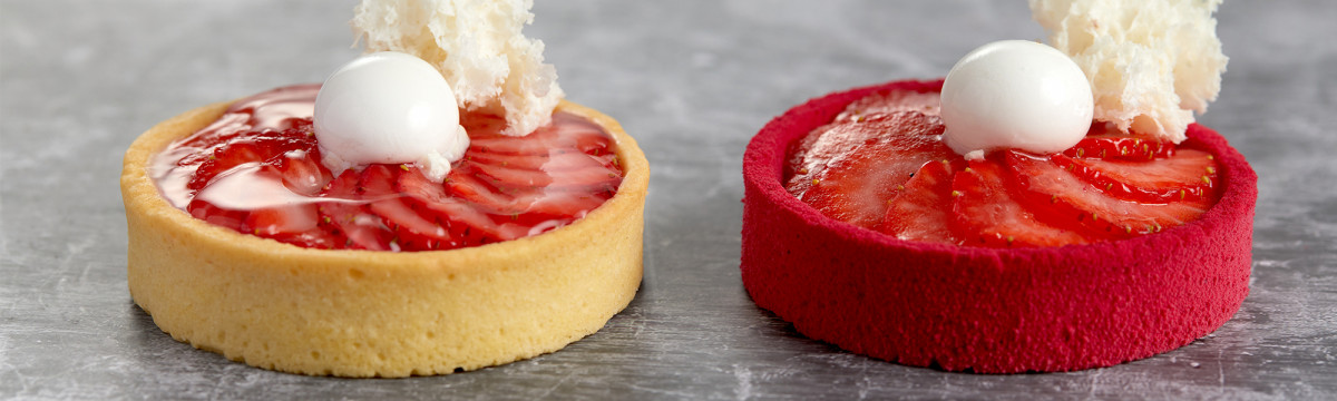 White chocolate and strawberry mousse