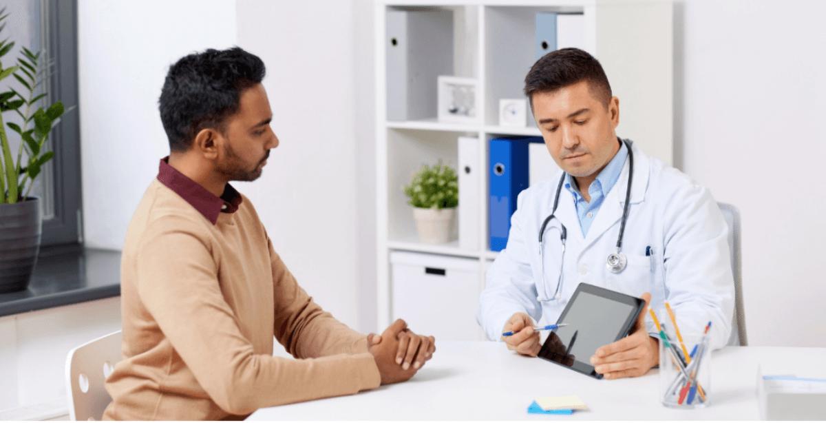 Dark skin man getting a skin health checkup for preventing Cancer