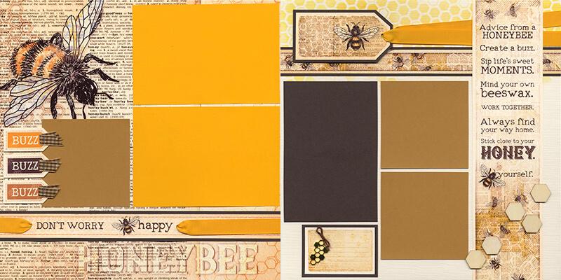 Let It Bee Pages by Club Scrap #clubscrap #scrapbooking #efficientscrapbooking