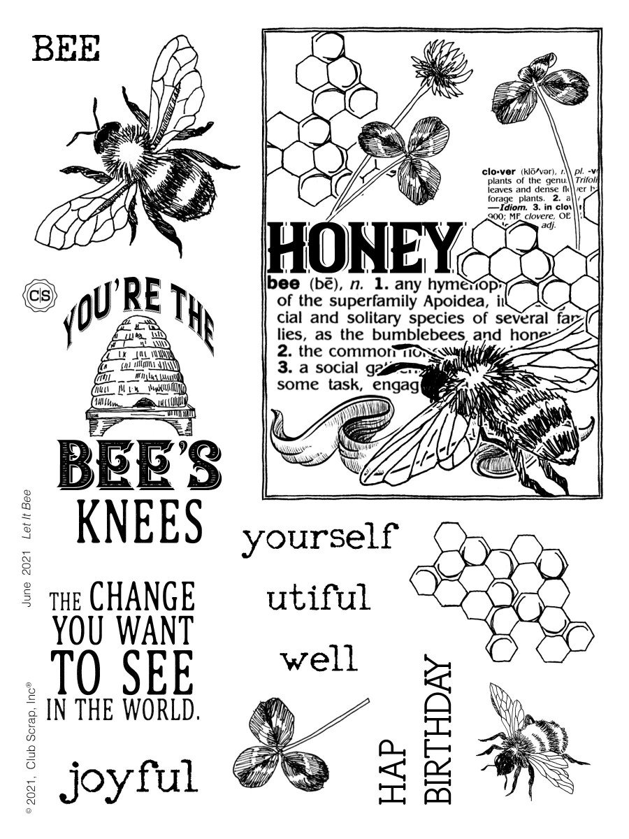 Let It Bee Stamps by Club Scrap #clubscrap #clearstamps #rubberstamps