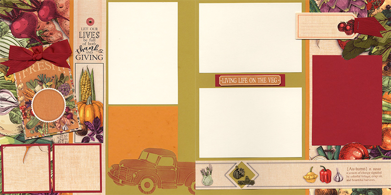 Farmstand pages by Club Scrap #clubscrap #efficientscrapbooking