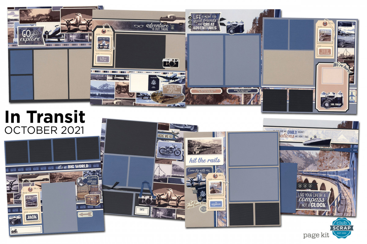In Transit Page Kit by Club Scrap #clubscrap #efficientscrapbooking
