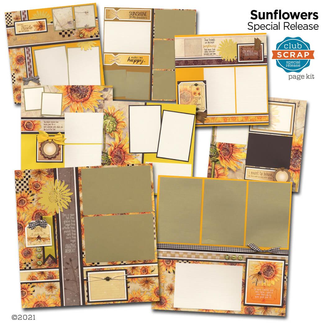 Sunflowers Page Kit #clubscrap #efficientscrapbooking