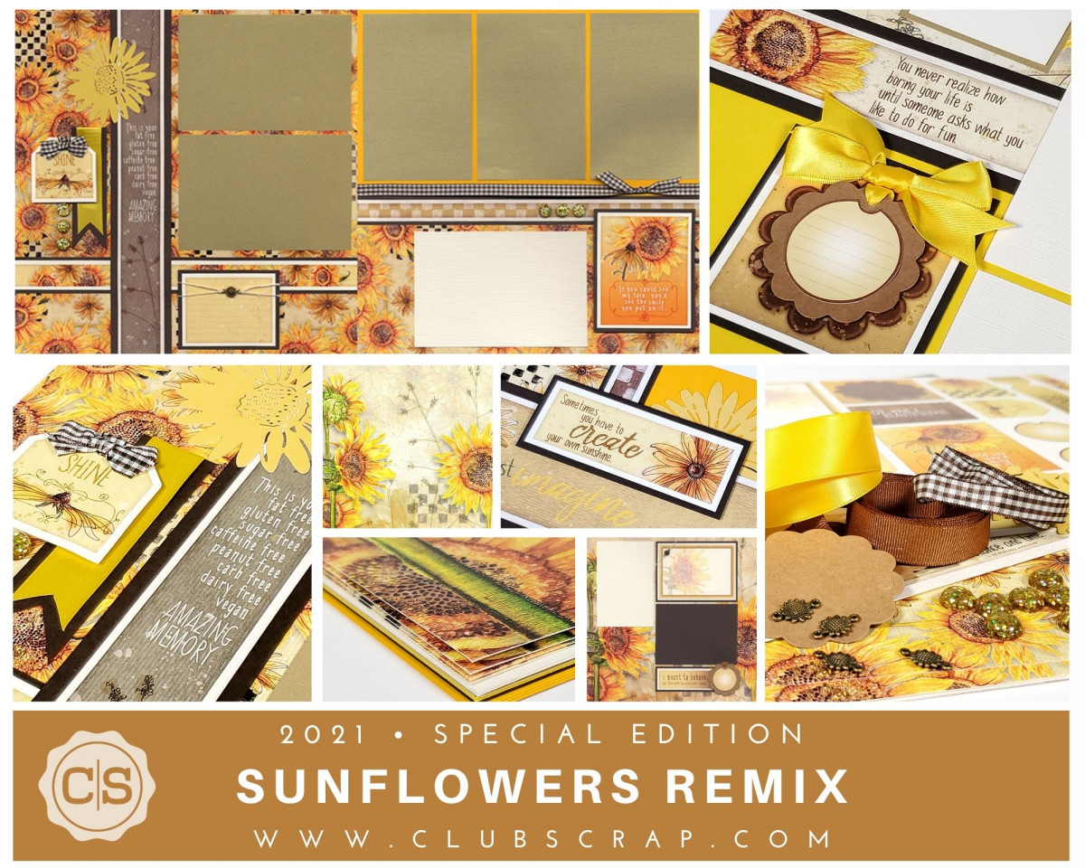 Sunflowers Page Kit by Club Scrap #clubscrap #efficientscrapbooking