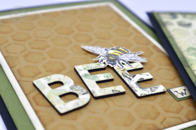 Die Cutting Words Let It Bee cards #clubscrap #bees #bumblebees #cards #stencils #stamping