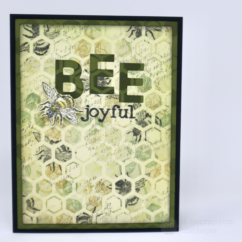 Die Cut Words Let It Bee cards #clubscrap #bees #bumblebees #cards #stencils #stamping
