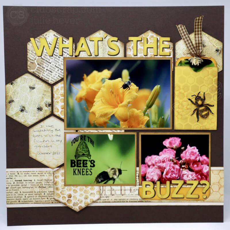 Hexagon Prints Background Let It Bee Scrapbook Page #clubscrap #bees #scrapbooking