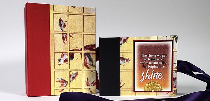 Create a Shoji Drop Spine Box with coordinating mini album.