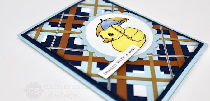 Paper Strips Plaid Rubber Ducky - A Rainy Day card!