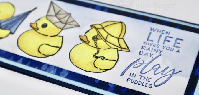 Ducky Trio - A Rainy Day Slimline Card