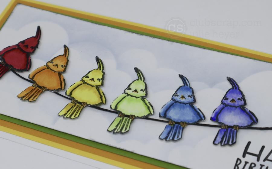 Birds Slimline Card with Farm Critters Remix Stamps!