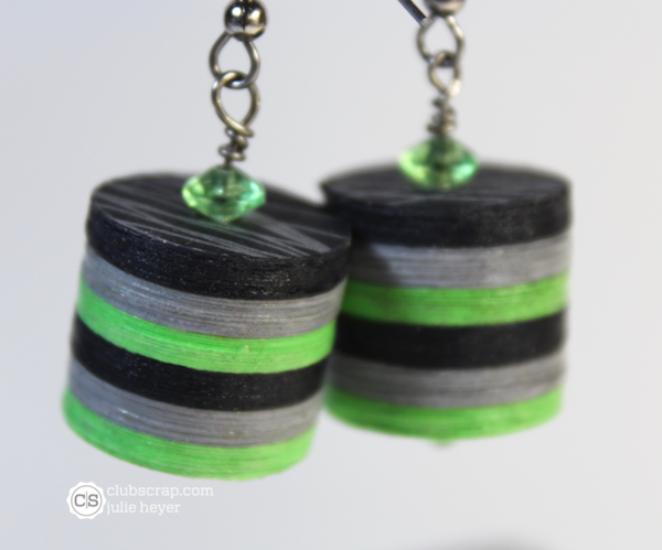 Circle Punch Earrings featuring Pattern Play papers.