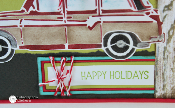 Stenciled Car Holiday Card with What a Ride!