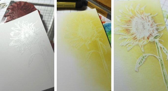 Sunflower stamp - Emboss Resist and colored pencils