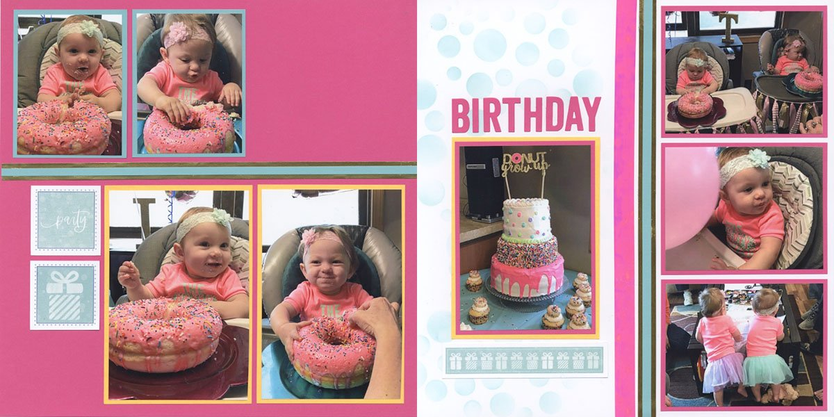 Make birthday pages from the Confetti Card kit!