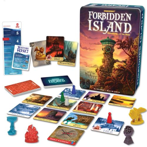 Adventure Board Games: Forbidden Island box, cards, tokens, and figurines