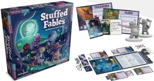 Adventure Board Games: Stuffed Fables box, book, figurines, and cards