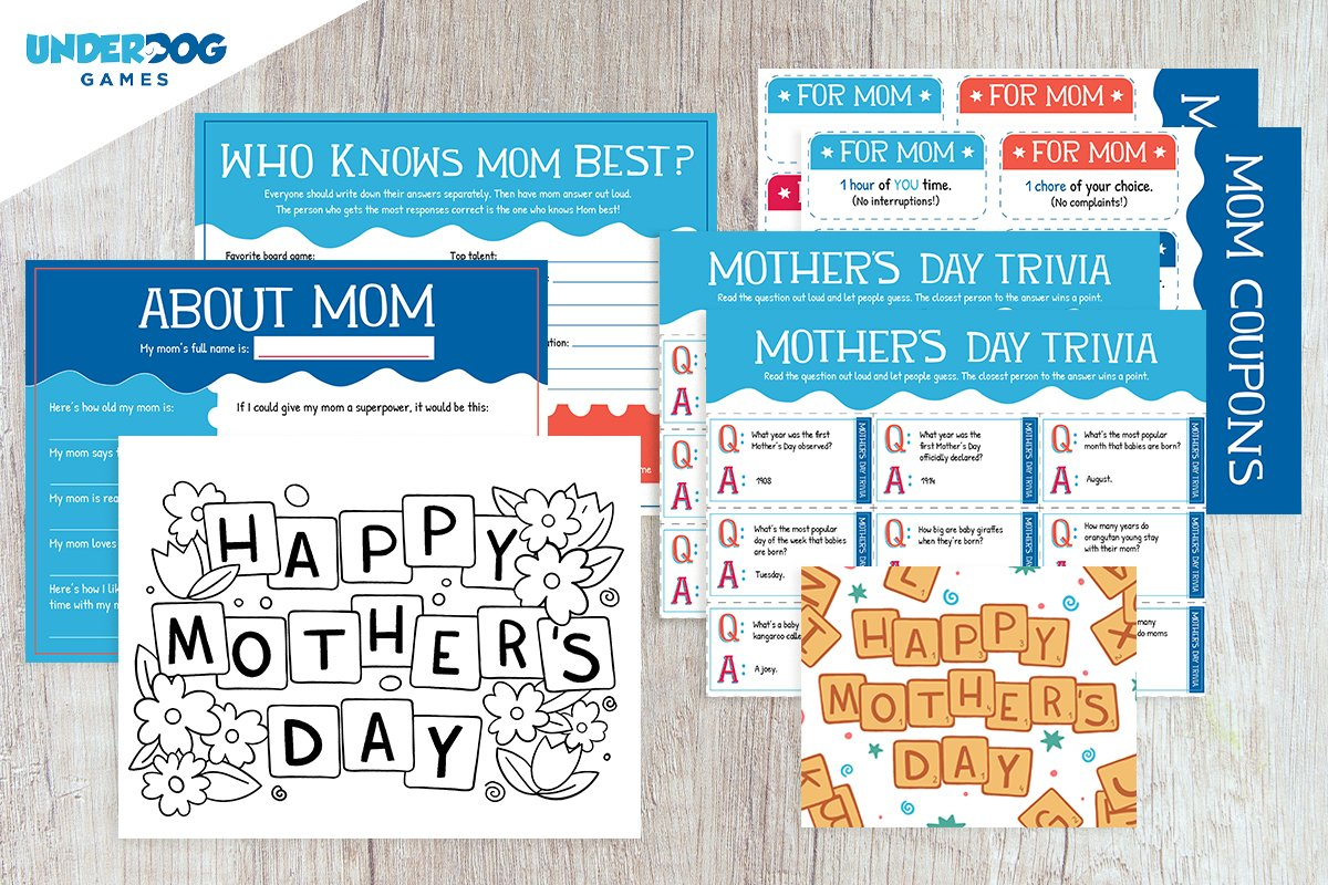Free Mother's Day Kit with Games, a Card, and Coloring Page