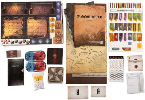 Solo Board Games: Gloomhaven cards, map, game pieces, and other equipment