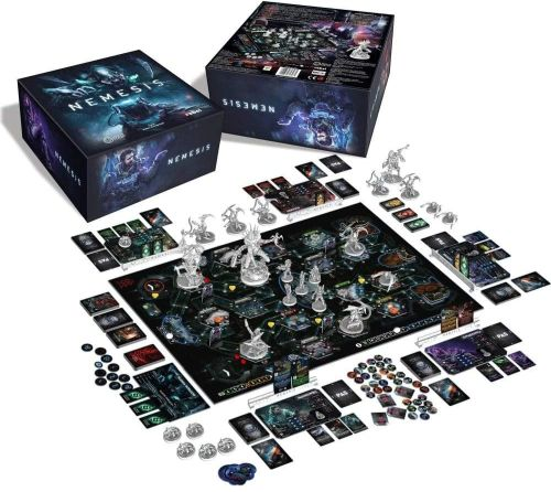 Best Solo Board Games: Nemesis board, cards, miniatures, and box
