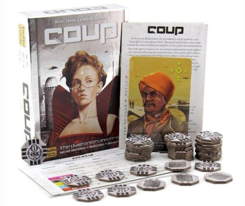 Travel Board Games: Coup box, cards, and tokens