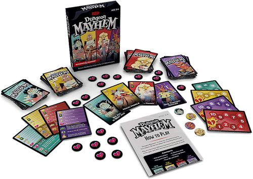 Travel Board Games: Dungeon Mayhem box, cards, and tokens