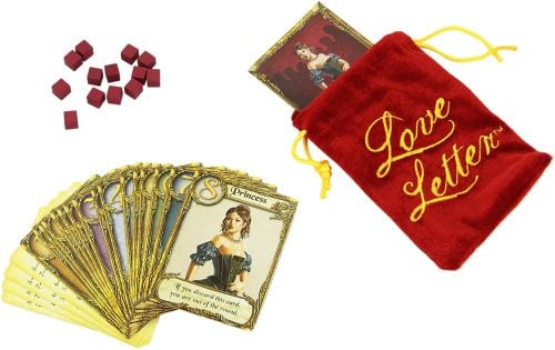 Travel Board Games: Love Letter cards, bag, and tokens