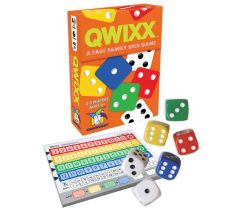 Travel Board Games: Qwixx box, dice, and scorepads