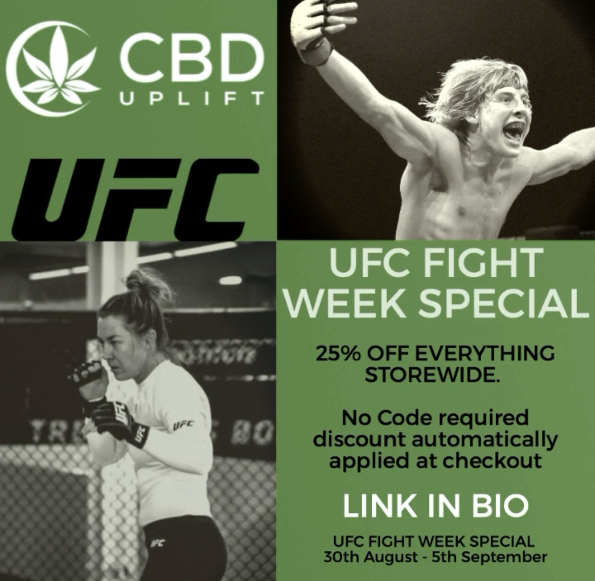 UFC FIGHT WEEK SPECIAL - 25% OFF EVERY ORDER - SHOP NOW
