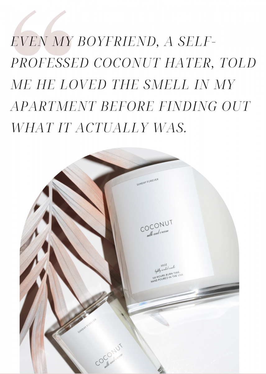 Pull quote about Coconut candle